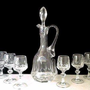Decanter Crystal Shot Cordial Glasses Liquor